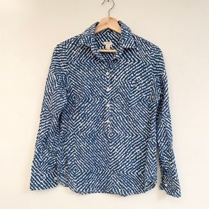 🌼 j crew button down abstract blue and white